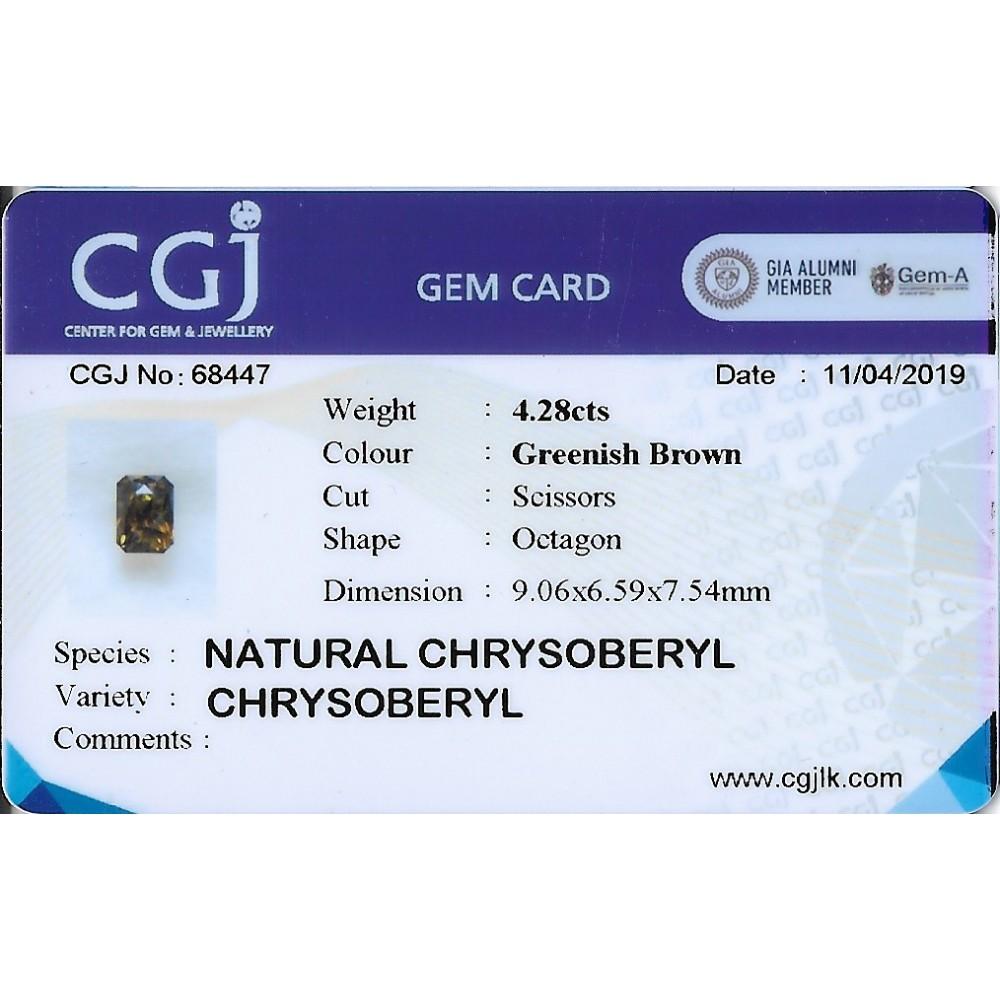 BROWN CRYSOBERYL 4.28CTS CRB1160